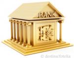 Bank w kolorze złotym z wejściem do sejfu